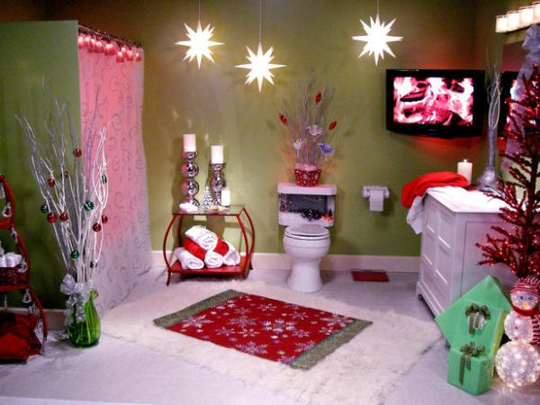 Christmas decorated bathroom